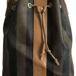 FENDI Vintage Large Black/Brown Stripe Leather Buc